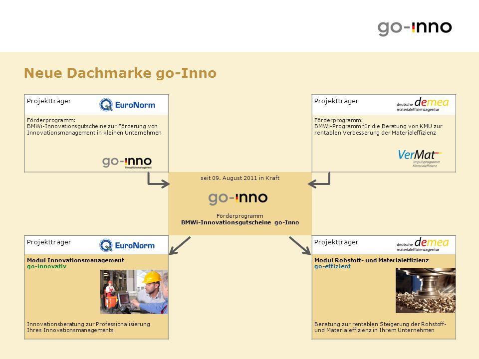 Zwei Module: Erhöhung von Innovationskraft und Wettbewerbsfähigkeit go-innovativ PT: EuroNorm GmbH Rentable Verbesserung der Rohstoff- und Materialeffizienz go-effizient PT: Deutsche Materialeffizienzagentur demea Zielsetzung des Förderprogramms go-Inno
