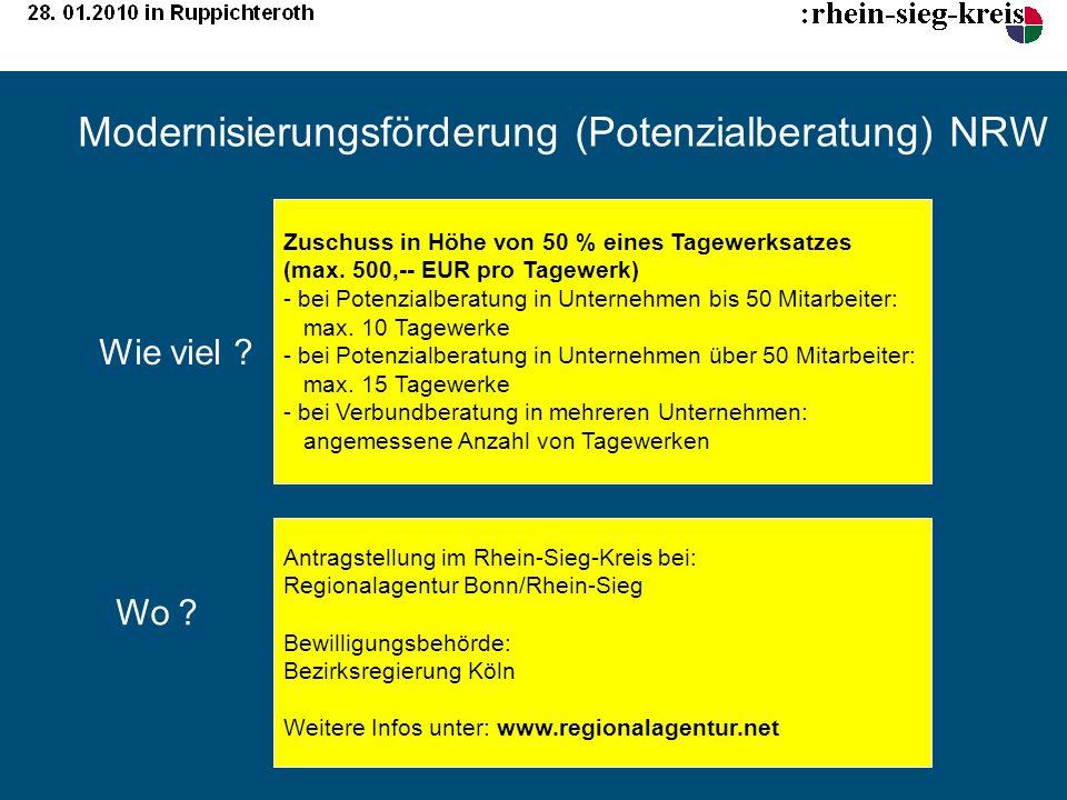 Modernisierungsförderung (Potenzialberatung) NRW Zuschuss in Höhe von 50 % eines Tagewerksatzes (max. 500,-- EUR pro Tagewerk) - bei Potenzialberatung
