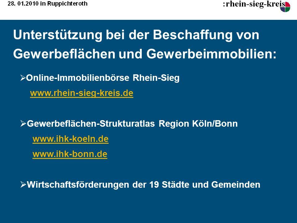 Unterstützung bei der Beschaffung von Gewerbeflächen und Gewerbeimmobilien: Online-Immobilienbörse Rhein-Sieg www.rhein-sieg-kreis.de Gewerbeflächen-S