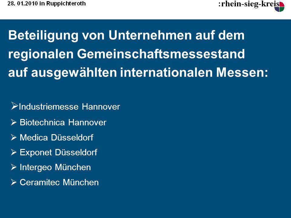 Beteiligung von Unternehmen auf dem regionalen Gemeinschaftsmessestand auf ausgewählten internationalen Messen: Industriemesse Hannover Biotechnica Ha