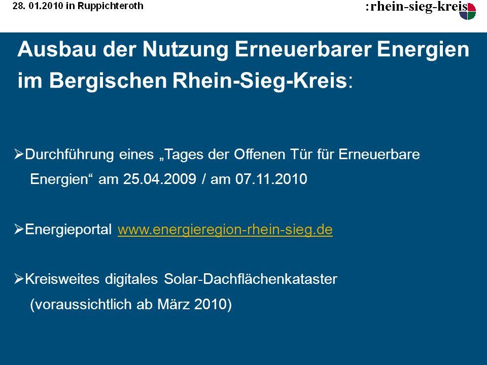 Ausbau der Nutzung Erneuerbarer Energien im Bergischen Rhein-Sieg-Kreis: Durchführung eines Tages der Offenen Tür für Erneuerbare Energien am 25.04.20