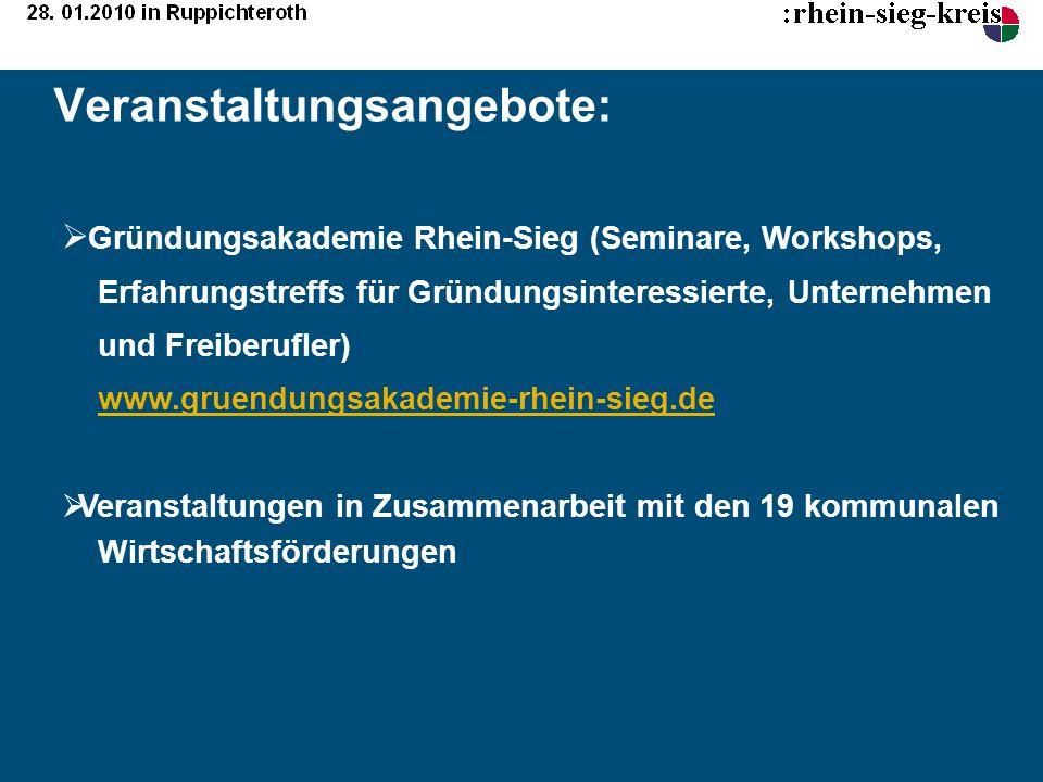 Veranstaltungsangebote: Gründungsakademie Rhein-Sieg (Seminare, Workshops, Erfahrungstreffs für Gründungsinteressierte, Unternehmen und Freiberufler)