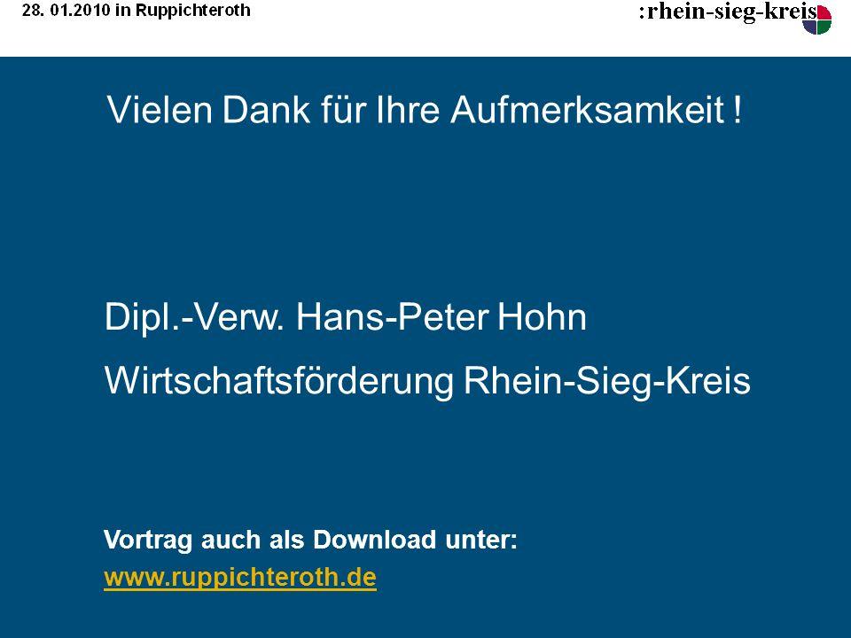 Vielen Dank für Ihre Aufmerksamkeit ! Dipl.-Verw. Hans-Peter Hohn Wirtschaftsförderung Rhein-Sieg-Kreis Vortrag auch als Download unter: www.ruppichte