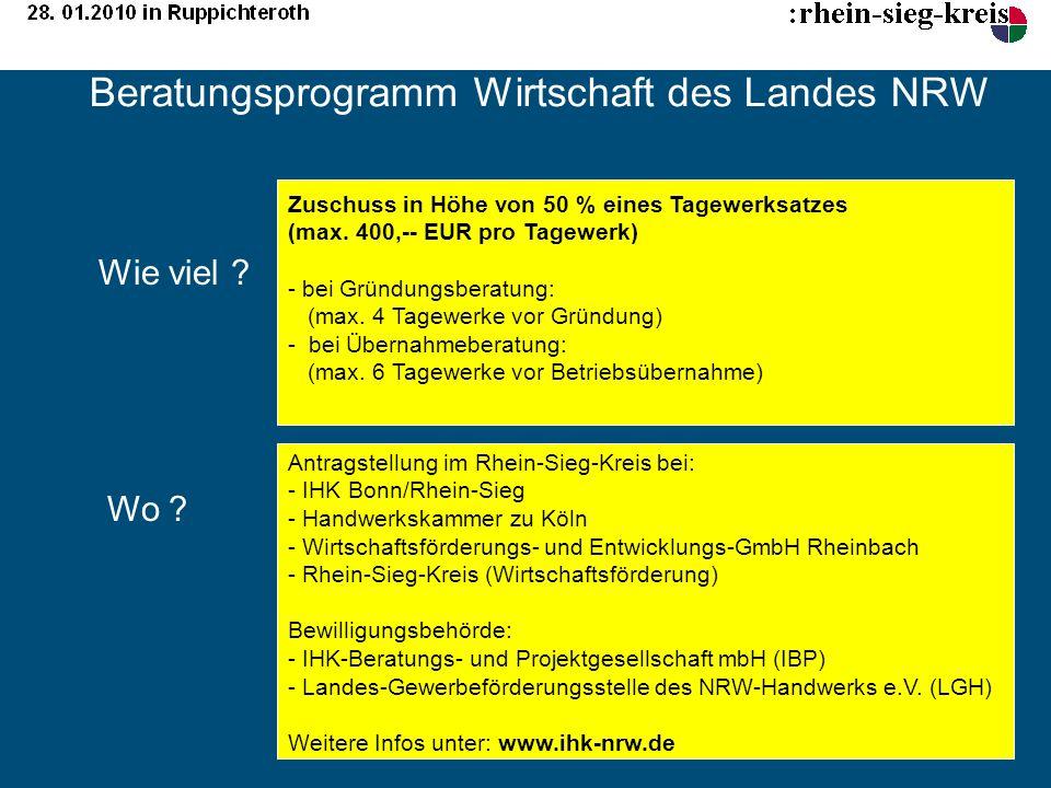 Beratungsprogramm Wirtschaft des Landes NRW Zuschuss in Höhe von 50 % eines Tagewerksatzes (max. 400,-- EUR pro Tagewerk) - bei Gründungsberatung: (ma