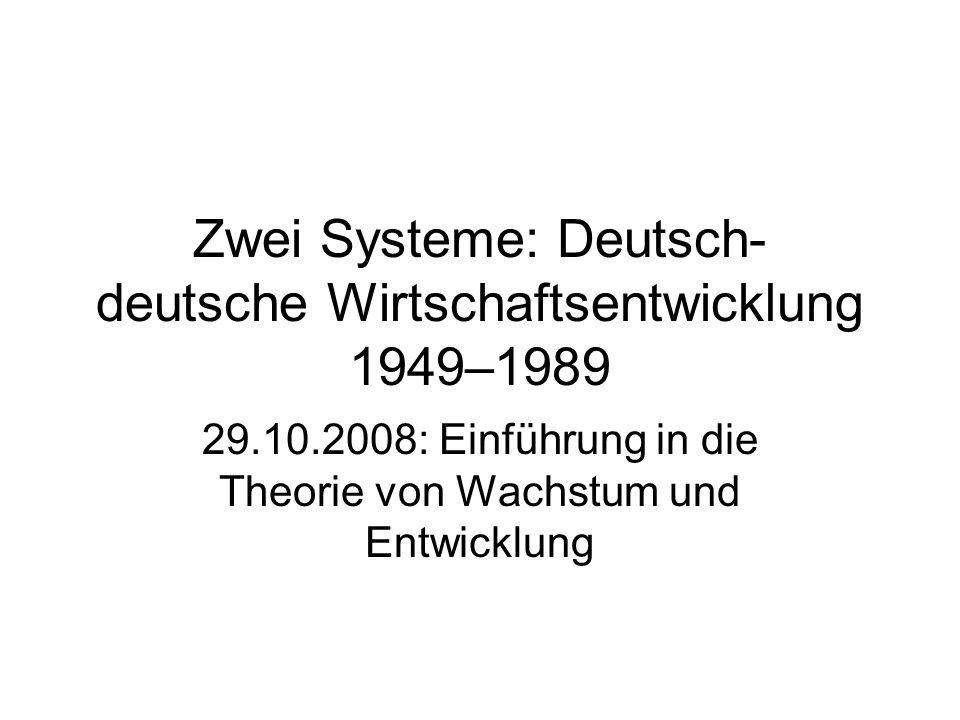 Zwei Systeme: Deutsch- deutsche Wirtschaftsentwicklung 1949–1989 29.10.2008: Einführung in die Theorie von Wachstum und Entwicklung
