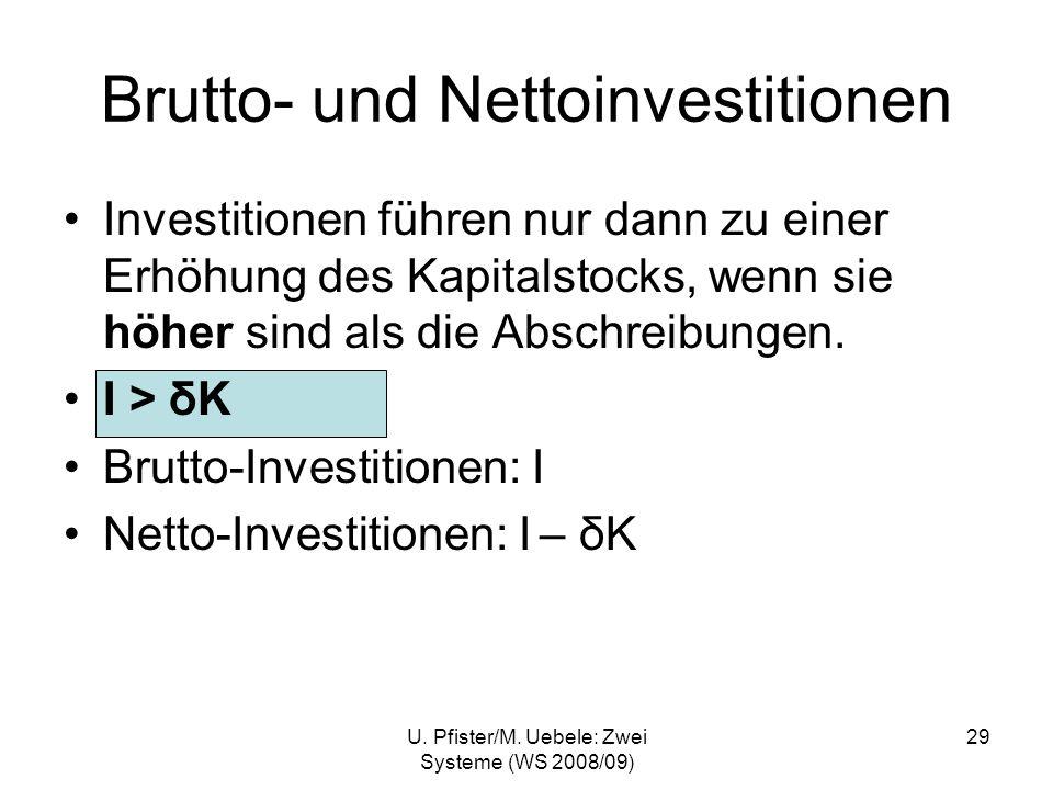 U. Pfister/M. Uebele: Zwei Systeme (WS 2008/09) 29 Brutto- und Nettoinvestitionen Investitionen führen nur dann zu einer Erhöhung des Kapitalstocks, w