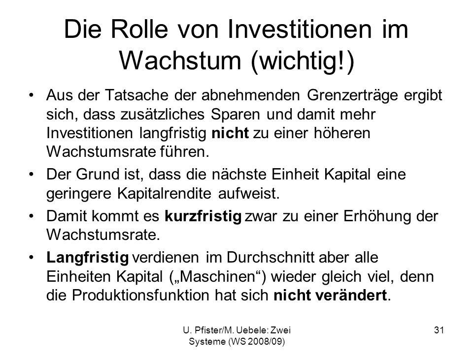 U. Pfister/M. Uebele: Zwei Systeme (WS 2008/09) 31 Die Rolle von Investitionen im Wachstum (wichtig!) Aus der Tatsache der abnehmenden Grenzerträge er