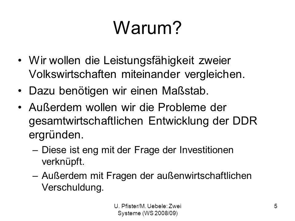 U. Pfister/M. Uebele: Zwei Systeme (WS 2008/09) 5 Warum? Wir wollen die Leistungsfähigkeit zweier Volkswirtschaften miteinander vergleichen. Dazu benö