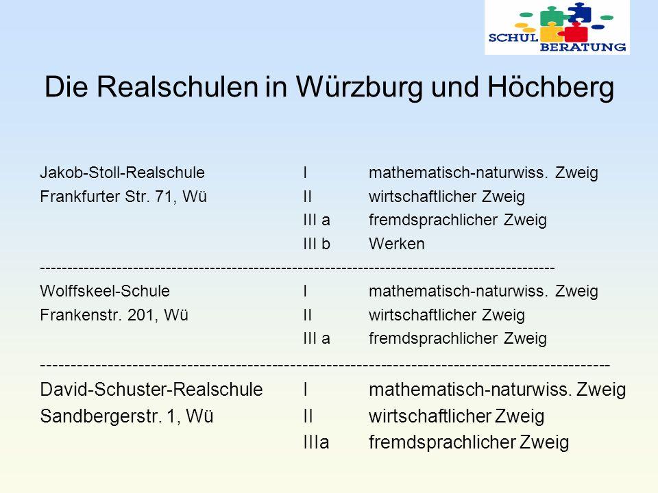 Die Realschulen in Würzburg und Höchberg Jakob-Stoll-RealschuleImathematisch-naturwiss. Zweig Frankfurter Str. 71, Wü IIwirtschaftlicher Zweig III afr