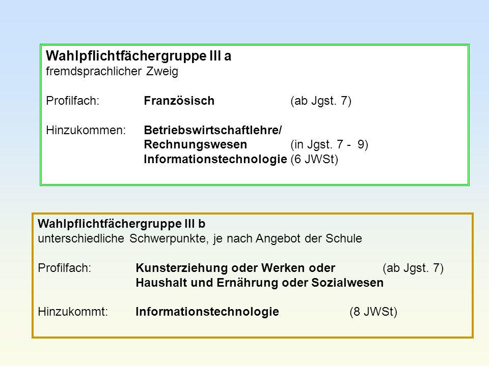 Wahlpflichtfächergruppe III a fremdsprachlicher Zweig Profilfach:Französisch (ab Jgst. 7) Hinzukommen:Betriebswirtschaftlehre/ Rechnungswesen(in Jgst.