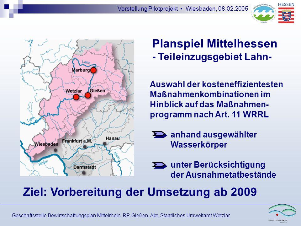 Vorstellung Pilotprojekt Wiesbaden, 08.02.2005 Planspiel Mittelhessen - Teileinzugsgebiet Lahn- Geschäftsstelle Bewirtschaftungsplan Mittelrhein, RP-G
