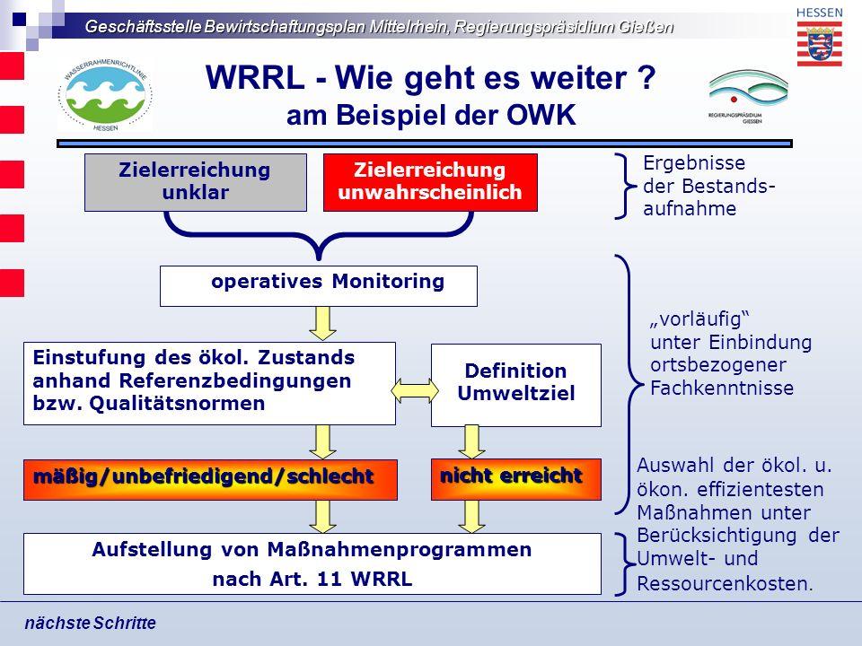 Geschäftsstelle Bewirtschaftungsplan Mittelrhein, Regierungspräsidium Gießen WRRL - Wie geht es weiter ? am Beispiel der OWK nächste Schritte Aufstell