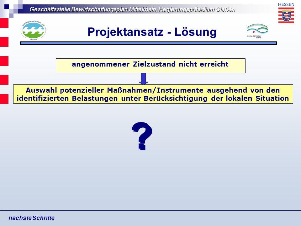 Geschäftsstelle Bewirtschaftungsplan Mittelrhein, Regierungspräsidium Gießen Projektansatz - Lösung nächste Schritte Auswahl potenzieller Maßnahmen/In