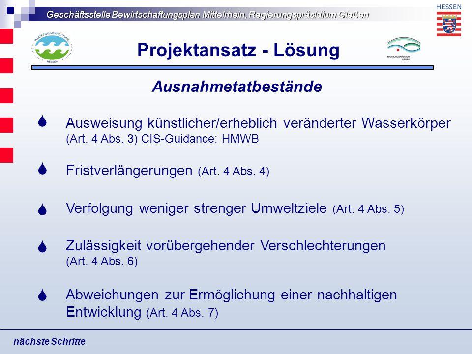 Geschäftsstelle Bewirtschaftungsplan Mittelrhein, Regierungspräsidium Gießen Projektansatz - Lösung nächste Schritte Ausweisung künstlicher/erheblich
