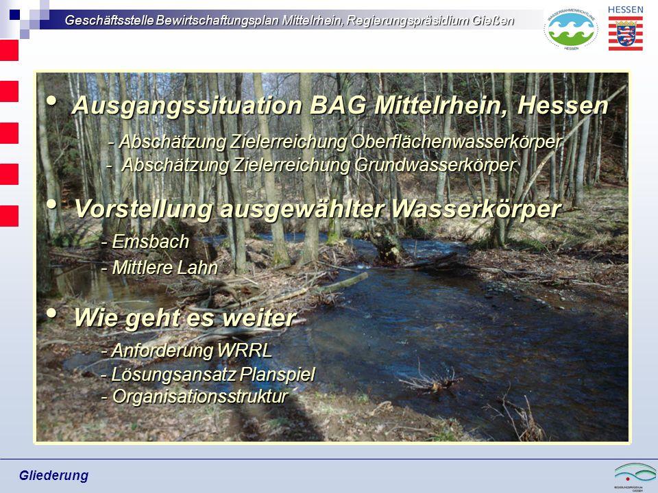 Geschäftsstelle Bewirtschaftungsplan Mittelrhein, Regierungspräsidium Gießen Gliederung Ausgangssituation BAG Mittelrhein, Hessen Ausgangssituation BA