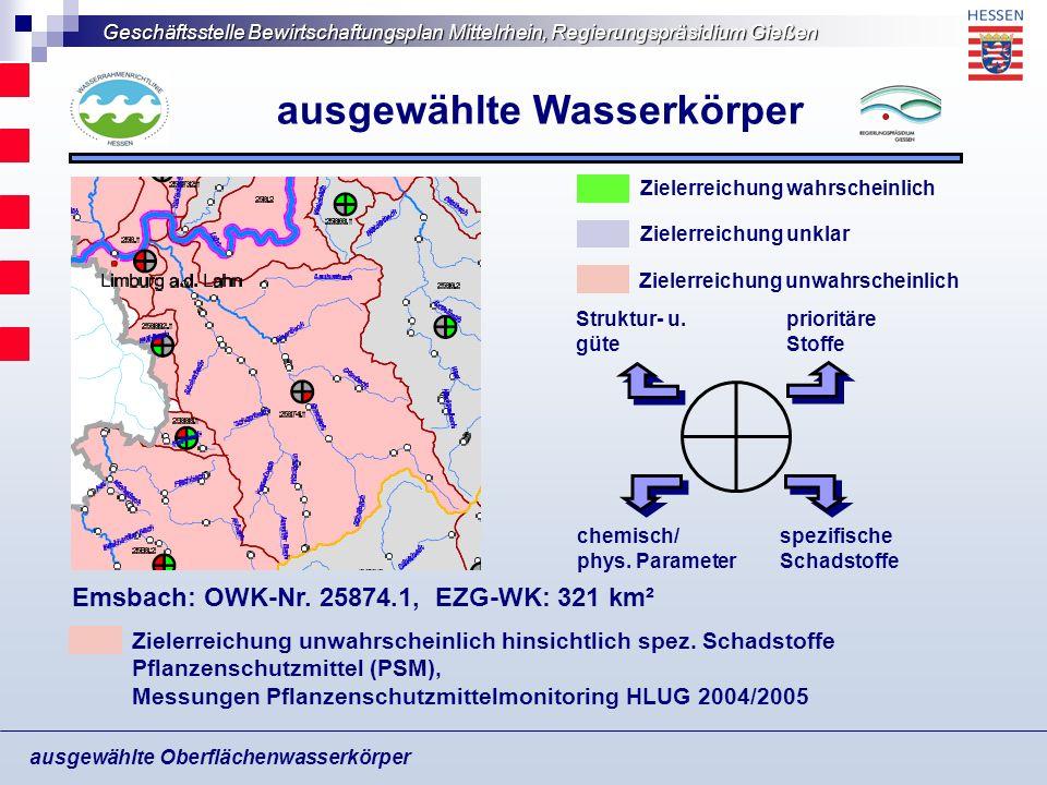 Geschäftsstelle Bewirtschaftungsplan Mittelrhein, Regierungspräsidium Gießen ausgewählte Oberflächenwasserkörper ausgewählte Wasserkörper Bodennutzungsstrukturen Wald Grünland Acker Siedlung Sonderkultur Feuchtfläche Wald: 43 % Landwirtschaftl.