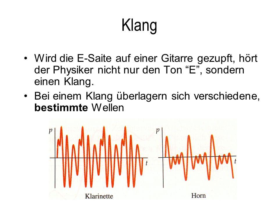 Klang Wird die E-Saite auf einer Gitarre gezupft, hört der Physiker nicht nur den Ton E, sondern einen Klang. Bei einem Klang überlagern sich verschie