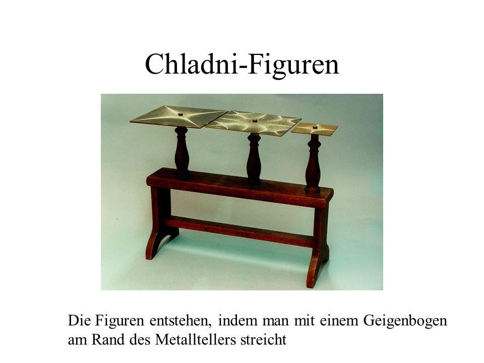 Chladni-Figuren Die Figuren entstehen, indem man mit einem Geigenbogen am Rand des Metalltellers streicht
