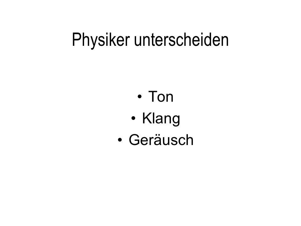 Ton Physikalisch gesprochen ist ein echter Ton ein Schallereignis, das nur aus einer Sinuswelle besteht.