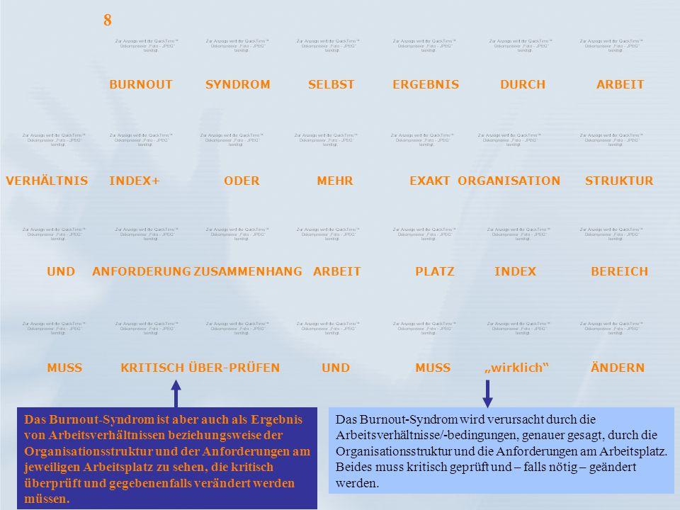 Das Burnout-Syndrom ist aber auch als Ergebnis von Arbeitsverhältnissen beziehungsweise der Organisationsstruktur und der Anforderungen am jeweiligen