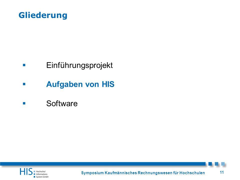 Symposium Kaufmännisches Rechnungswesen für Hochschulen 11 Einführungsprojekt Aufgaben von HIS Software Gliederung