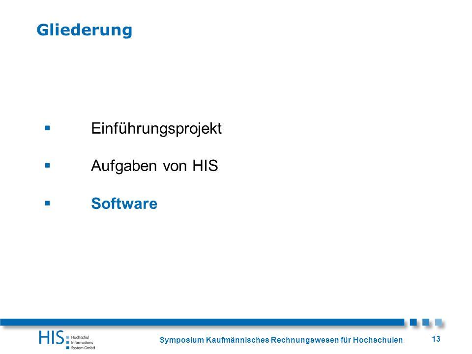 Symposium Kaufmännisches Rechnungswesen für Hochschulen 13 Einführungsprojekt Aufgaben von HIS Software Gliederung