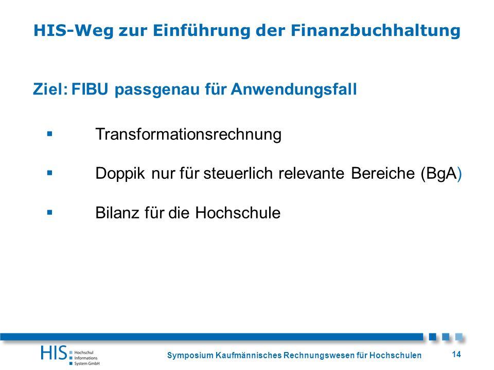 Symposium Kaufmännisches Rechnungswesen für Hochschulen 14 Ziel: FIBU passgenau für Anwendungsfall Transformationsrechnung Doppik nur für steuerlich r