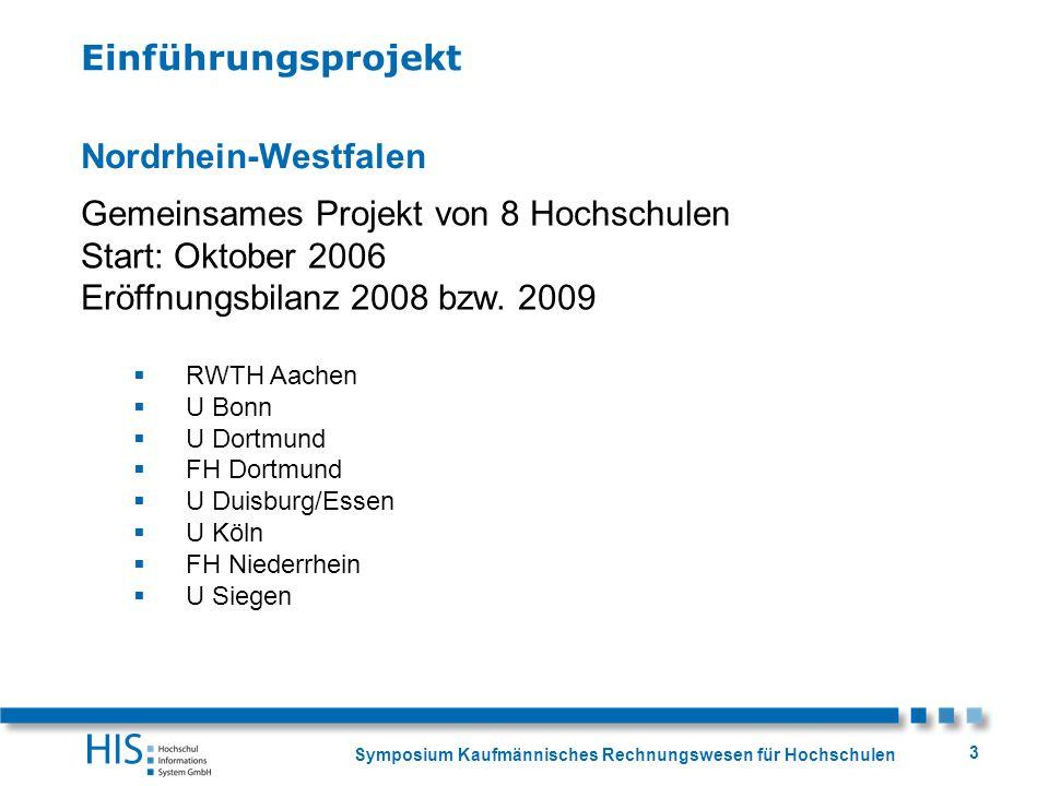 Symposium Kaufmännisches Rechnungswesen für Hochschulen 3 Nordrhein-Westfalen Gemeinsames Projekt von 8 Hochschulen Start: Oktober 2006 Eröffnungsbila