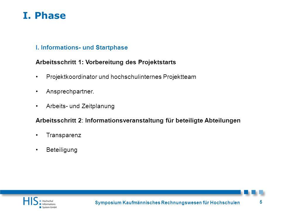 Symposium Kaufmännisches Rechnungswesen für Hochschulen 5 I. Phase I. Informations- und Startphase Arbeitsschritt 1: Vorbereitung des Projektstarts Pr