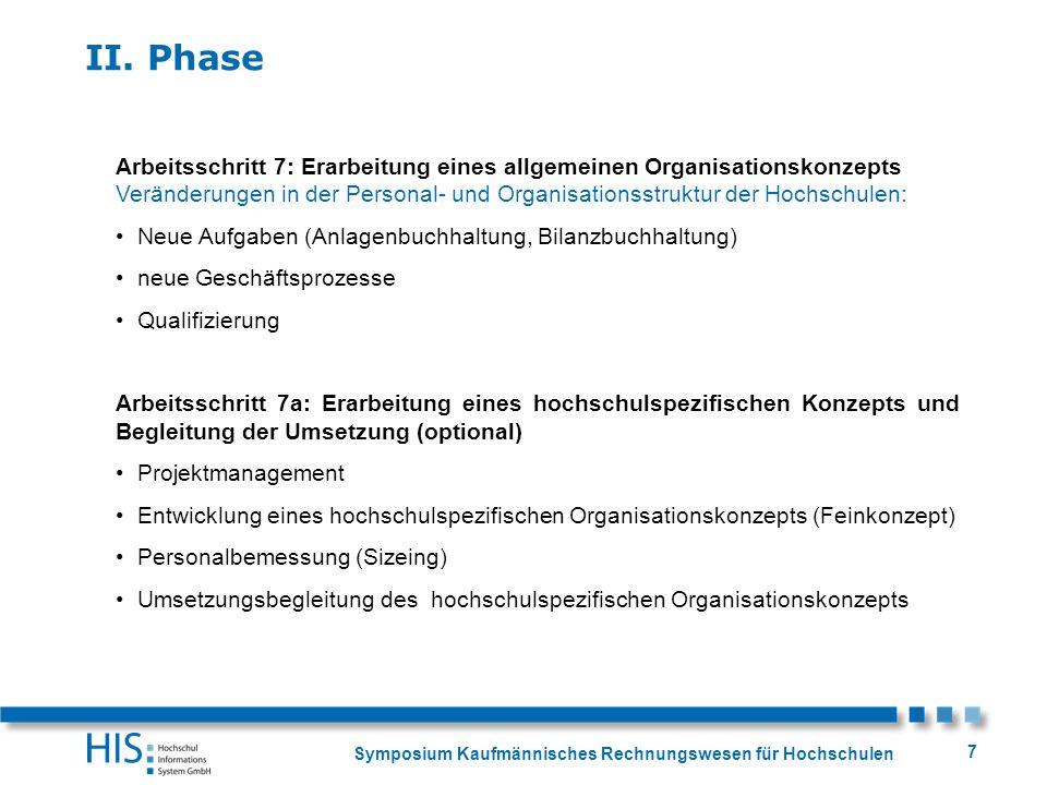 Symposium Kaufmännisches Rechnungswesen für Hochschulen 7 Arbeitsschritt 7: Erarbeitung eines allgemeinen Organisationskonzepts Veränderungen in der P
