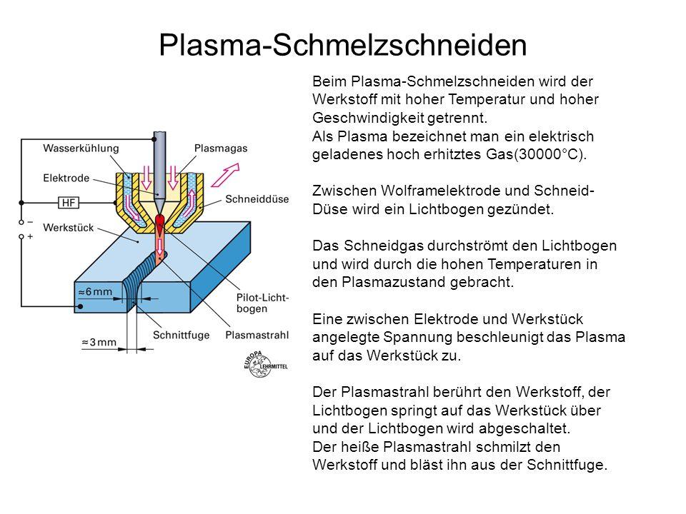Plasma-Schmelzschneiden Beim Plasma-Schmelzschneiden wird der Werkstoff mit hoher Temperatur und hoher Geschwindigkeit getrennt. Als Plasma bezeichnet