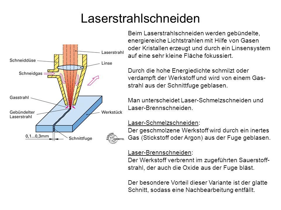 Laserstrahlschneiden Beim Laserstrahlschneiden werden gebündelte, energiereiche Lichtstrahlen mit Hilfe von Gasen oder Kristallen erzeugt und durch ei