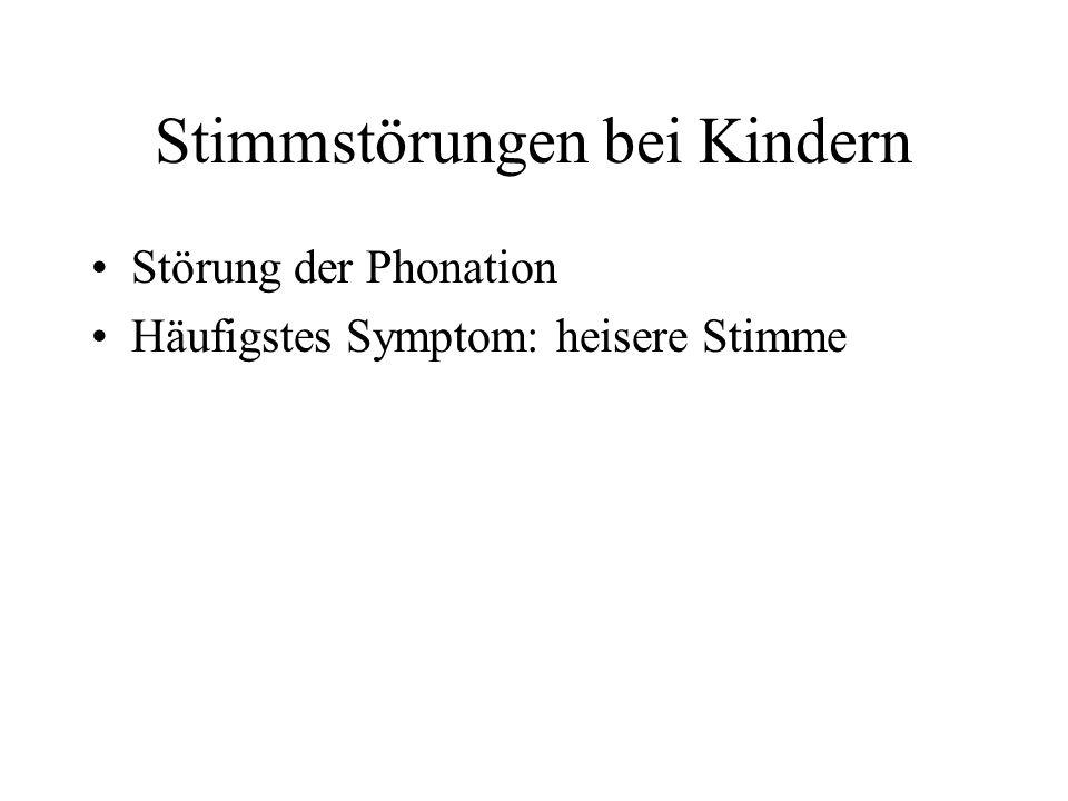 Stimmstörungen bei Kindern Störung der Phonation Häufigstes Symptom: heisere Stimme