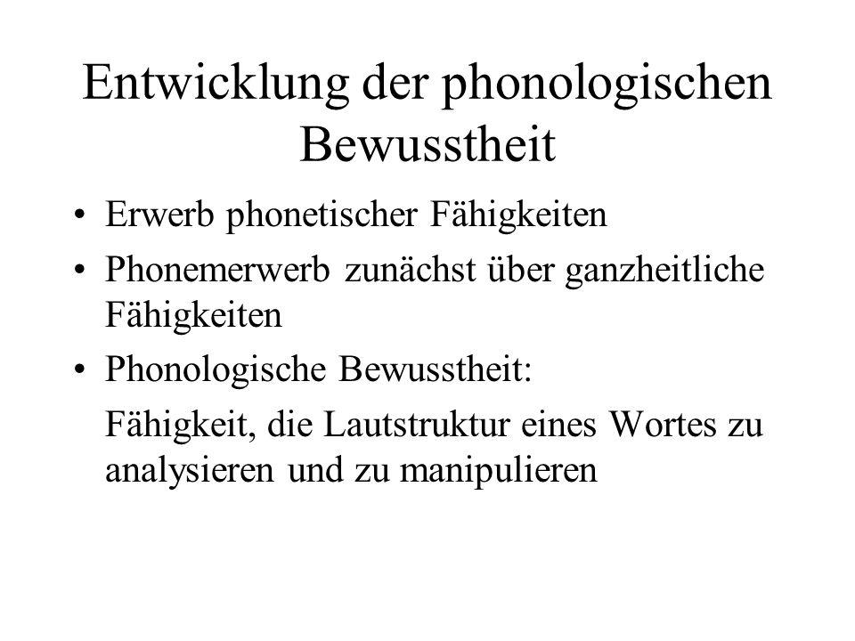 Entwicklung der phonologischen Bewusstheit Erwerb phonetischer Fähigkeiten Phonemerwerb zunächst über ganzheitliche Fähigkeiten Phonologische Bewusstheit: Fähigkeit, die Lautstruktur eines Wortes zu analysieren und zu manipulieren