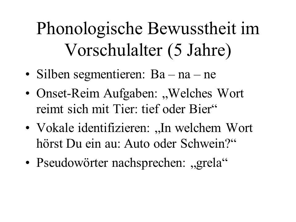 Phonologische Bewusstheit im Vorschulalter (5 Jahre) Silben segmentieren: Ba – na – ne Onset-Reim Aufgaben: Welches Wort reimt sich mit Tier: tief oder Bier Vokale identifizieren: In welchem Wort hörst Du ein au: Auto oder Schwein.