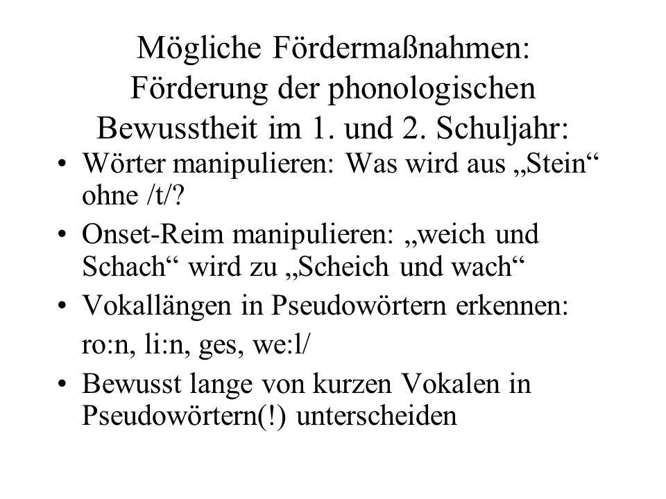 Mögliche Fördermaßnahmen: Förderung der phonologischen Bewusstheit im 1.