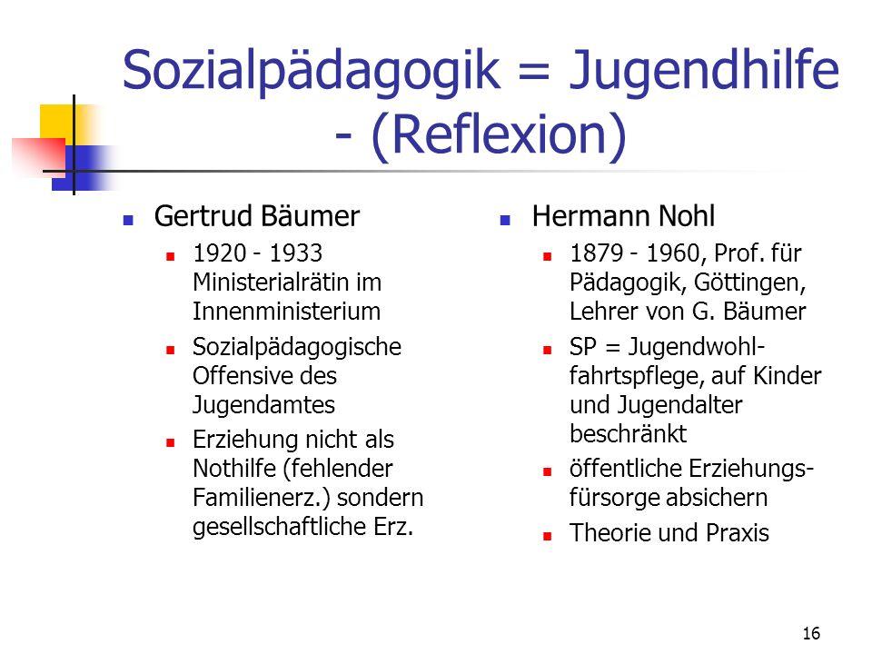 16 Sozialpädagogik = Jugendhilfe - (Reflexion) Gertrud Bäumer 1920 - 1933 Ministerialrätin im Innenministerium Sozialpädagogische Offensive des Jugendamtes Erziehung nicht als Nothilfe (fehlender Familienerz.) sondern gesellschaftliche Erz.