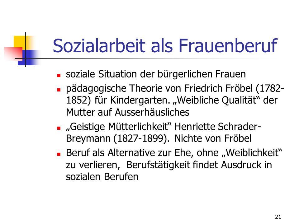 21 Sozialarbeit als Frauenberuf soziale Situation der bürgerlichen Frauen pädagogische Theorie von Friedrich Fröbel (1782- 1852) für Kindergarten.