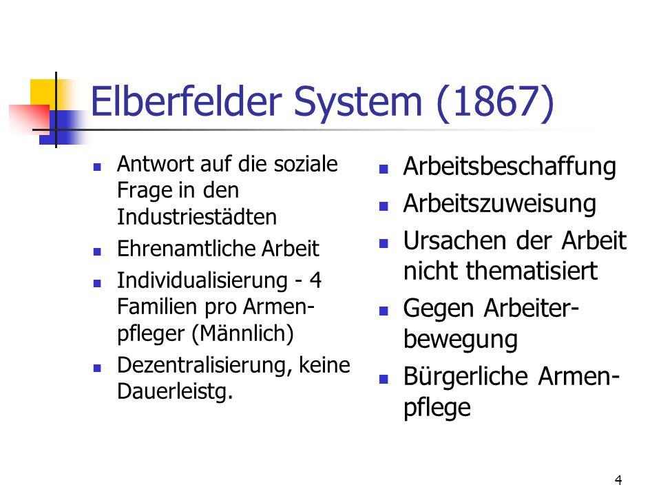 4 Elberfelder System (1867) Antwort auf die soziale Frage in den Industriestädten Ehrenamtliche Arbeit Individualisierung - 4 Familien pro Armen- pfleger (Männlich) Dezentralisierung, keine Dauerleistg.
