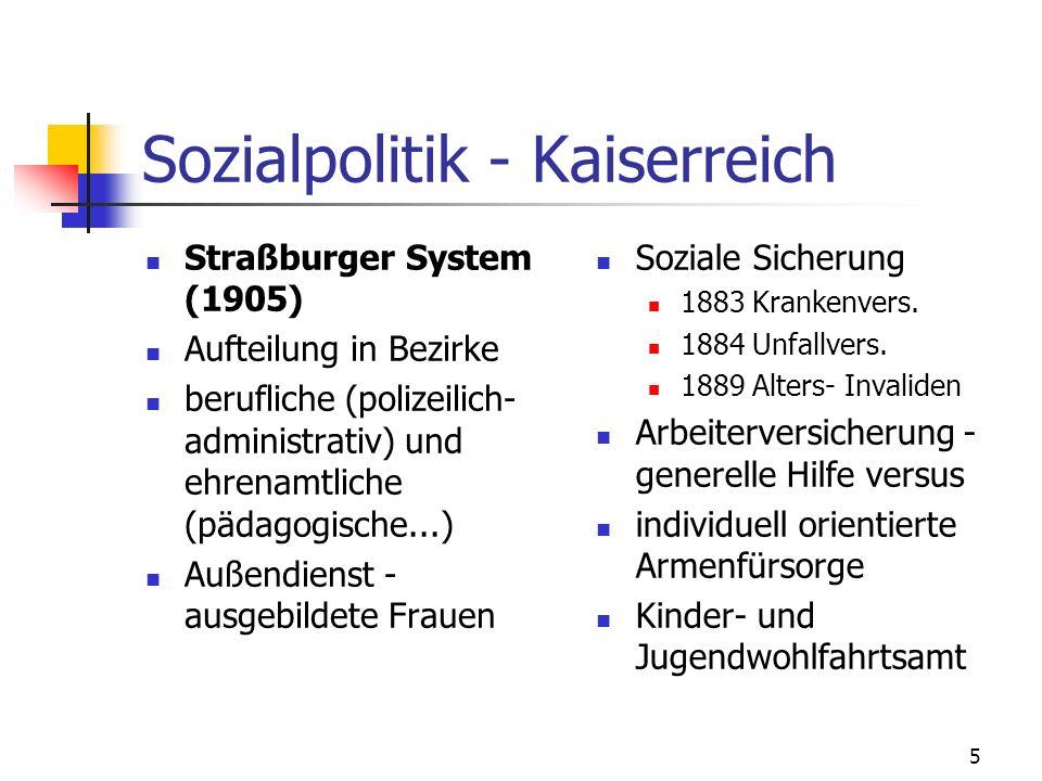 5 Sozialpolitik - Kaiserreich Straßburger System (1905) Aufteilung in Bezirke berufliche (polizeilich- administrativ) und ehrenamtliche (pädagogische...) Außendienst - ausgebildete Frauen Soziale Sicherung 1883 Krankenvers.
