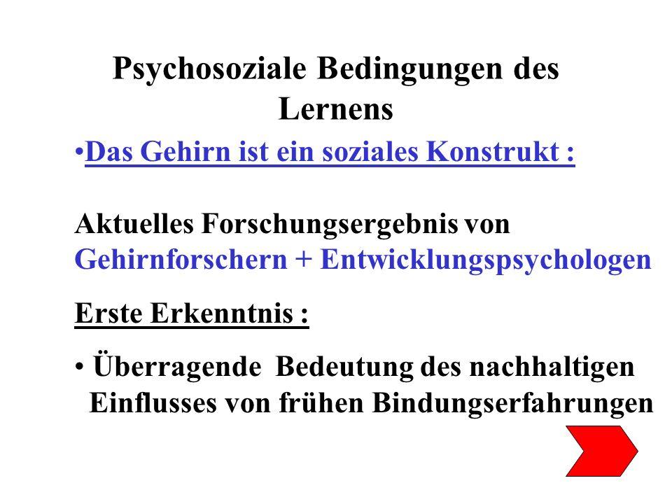 Psychosoziale Bedingungen des Lernens Das Gehirn ist ein soziales Konstrukt : Aktuelles Forschungsergebnis von Gehirnforschern + Entwicklungspsycholog