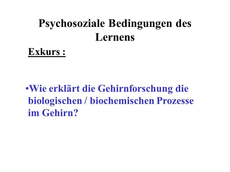 Psychosoziale Bedingungen des Lernens Exkurs : Wie erklärt die Gehirnforschung die biologischen / biochemischen Prozesse im Gehirn?