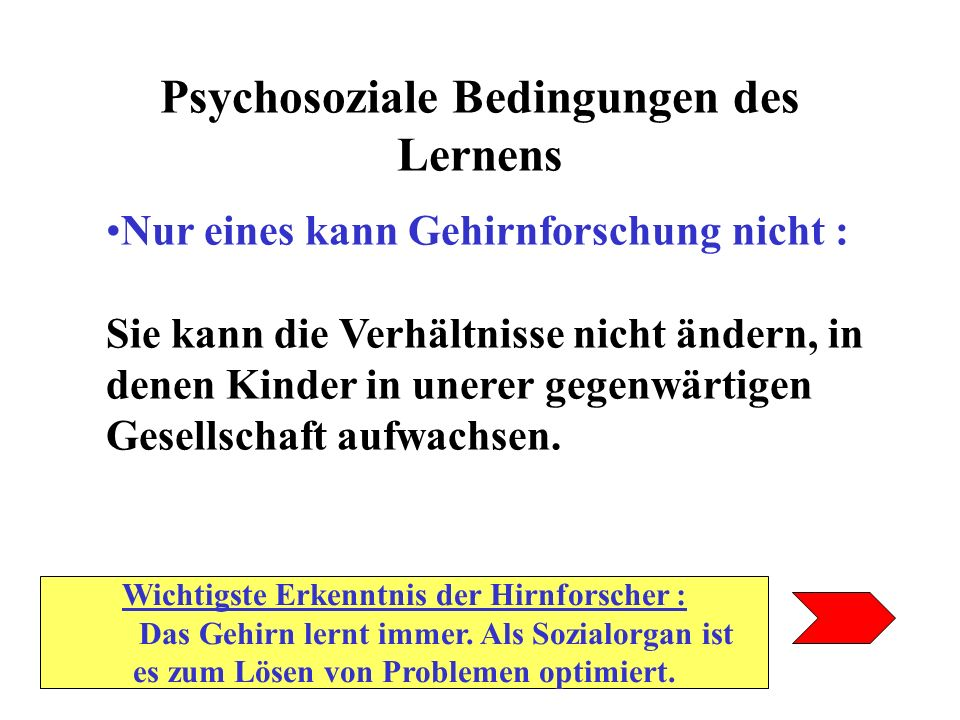 Psychosoziale Bedingungen des Lernens Nur eines kann Gehirnforschung nicht : Sie kann die Verhältnisse nicht ändern, in denen Kinder in unerer gegenwä