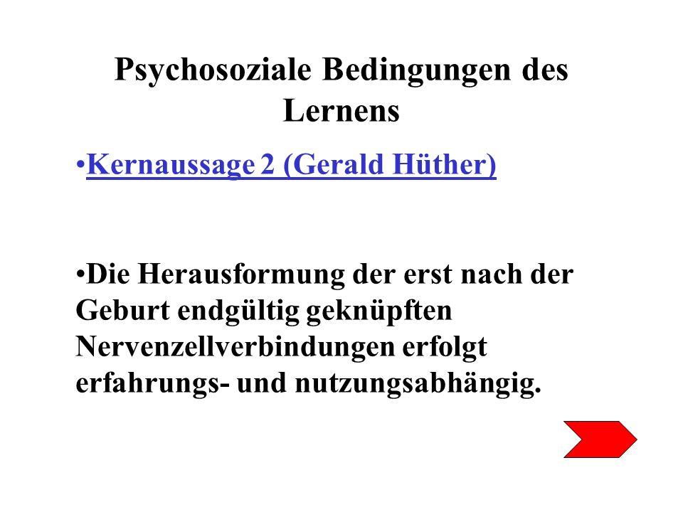 Psychosoziale Bedingungen des Lernens Kernaussage 2 (Gerald Hüther) Die entscheidenden Erfahrungen, die Kinder und Jugendliche dazu bringen, ihr Gehirn auf eine bestimmte Weise zu nutzen und damit zu strukturieren, sind psychosozialer Natur, also Beziehungserfahrungen