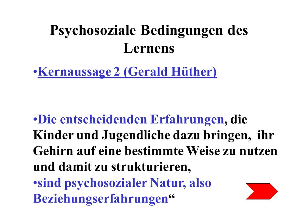 Psychosoziale Bedingungen des Lernens Kernaussage 2 (Gerald Hüther) Die entscheidenden Erfahrungen, die Kinder und Jugendliche dazu bringen, ihr Gehir