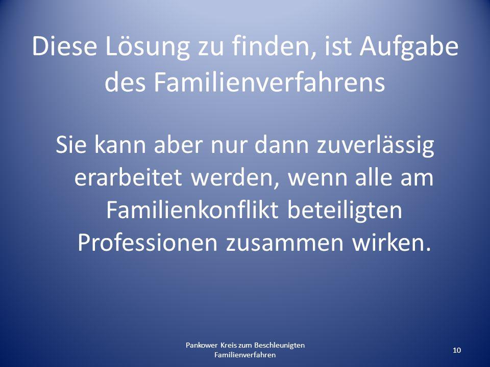 Pankower Kreis zum Beschleunigten Familienverfahren 10 Diese Lösung zu finden, ist Aufgabe des Familienverfahrens Sie kann aber nur dann zuverlässig e