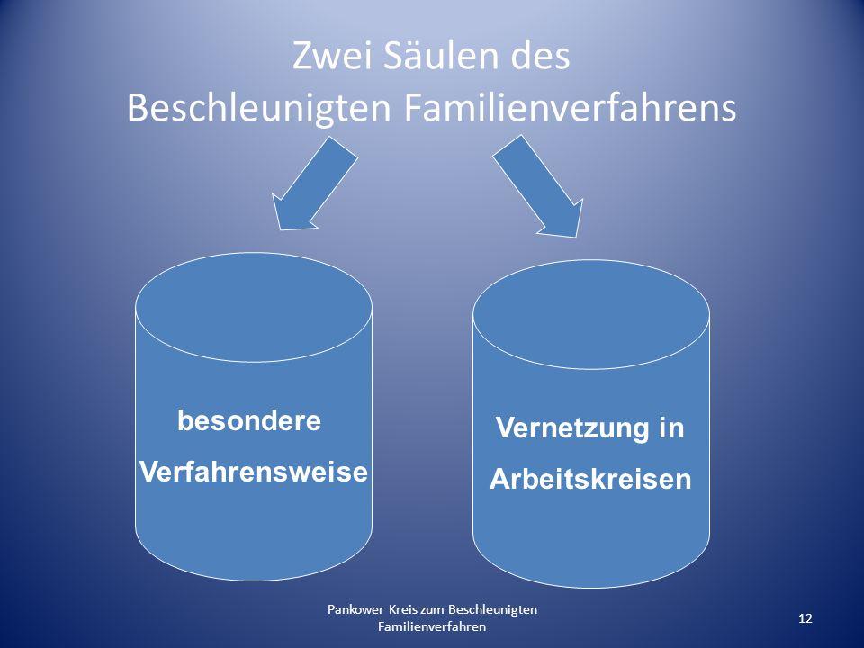 Pankower Kreis zum Beschleunigten Familienverfahren 12 Zwei Säulen des Beschleunigten Familienverfahrens besondere Verfahrensweise Vernetzung in Arbei