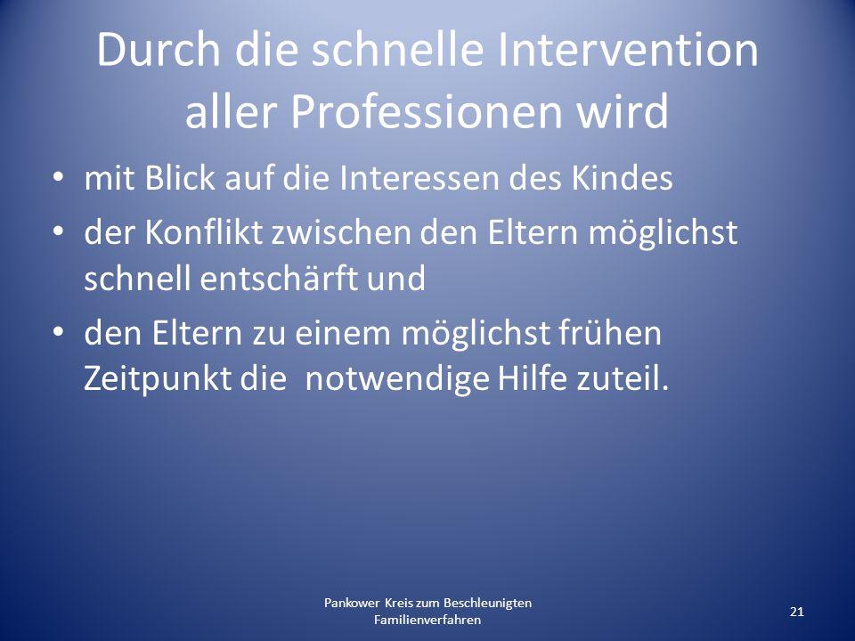 Pankower Kreis zum Beschleunigten Familienverfahren 21 Durch die schnelle Intervention aller Professionen wird mit Blick auf die Interessen des Kindes