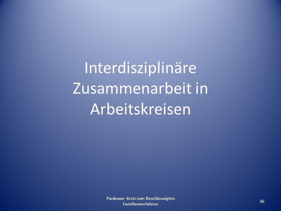Pankower Kreis zum Beschleunigten Familienverfahren 36 Interdisziplinäre Zusammenarbeit in Arbeitskreisen
