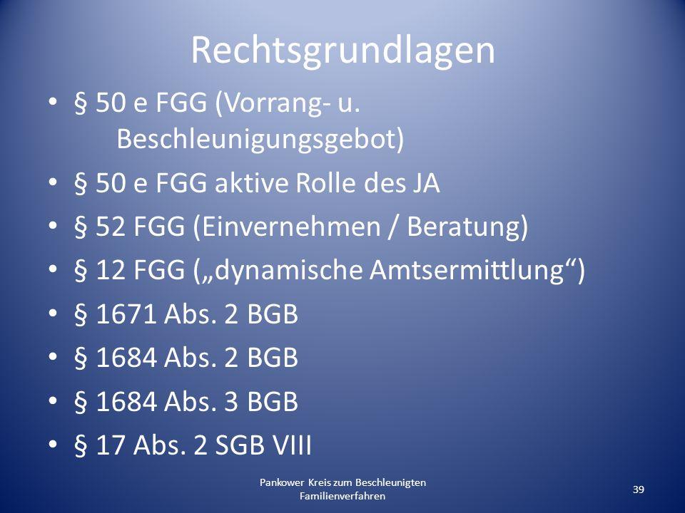 Pankower Kreis zum Beschleunigten Familienverfahren 39 Rechtsgrundlagen § 50 e FGG (Vorrang- u. Beschleunigungsgebot) § 50 e FGG aktive Rolle des JA §